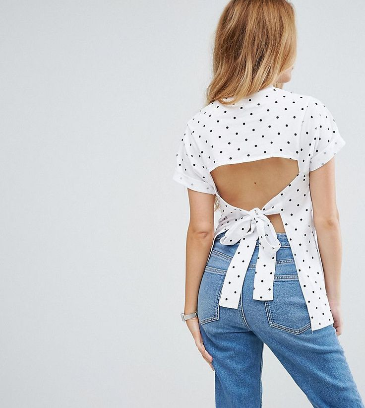 ASOS PETITE T-Shirt with Open Back in Polka Dot - Multi