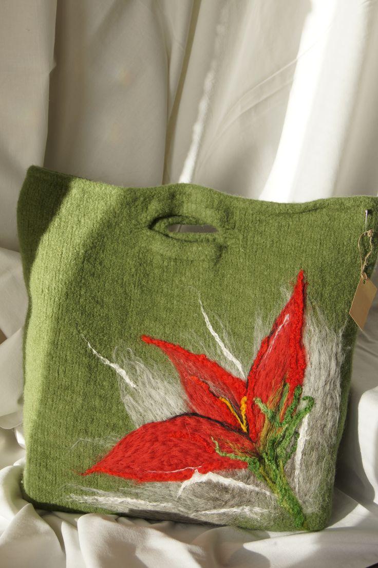 torebka robiona na drutach filcowana