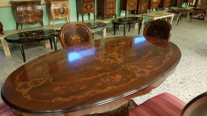 Sorrento Inlaid Wood Game Table