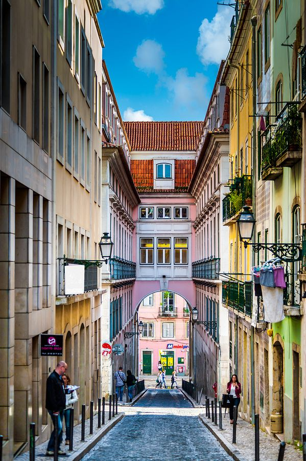 "The Street of the Rose in the bohemian ""Bairro Alto"", Lisbon, Portugal by Nuno Trindade, via 500px"