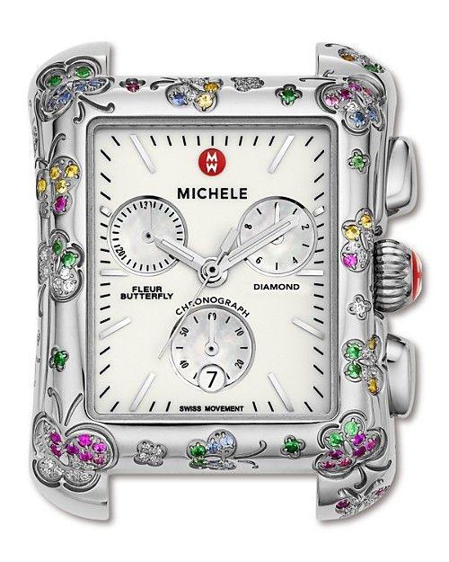 Michele Fleur Butterfly Colored Stone Watch Head 42 x 31 mm