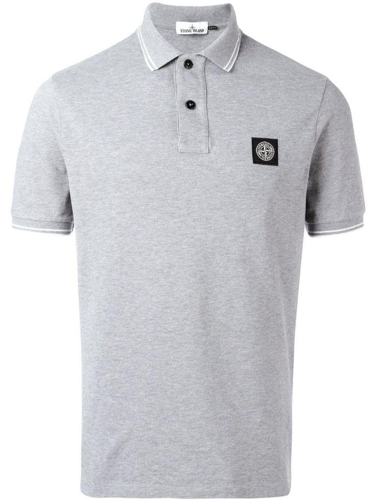 STONE ISLAND Grey Logo Patch Polo Shirt. #stoneisland #cloth #polo shirts