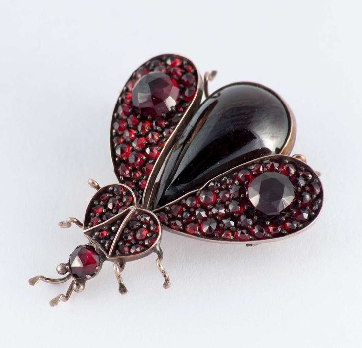 Victorian Garnet Gold Bug Pin | From a unique collection of vintage brooches at https://www.1stdibs.com/jewelry/brooches/brooches/