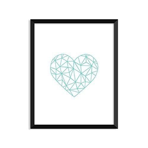 Polygonal Heart - Teal, Modern, Illustration, Minimalist Poster, Home Decor, College Dorm Room Decorations, Wall Art