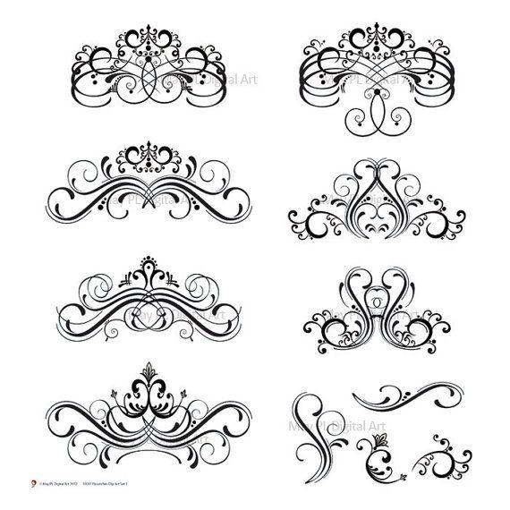 Digital Stamp Design Flourish Rose Border Corner Clip Art: Flourish Clipart Wedding Business DIY Logo Branding Vector