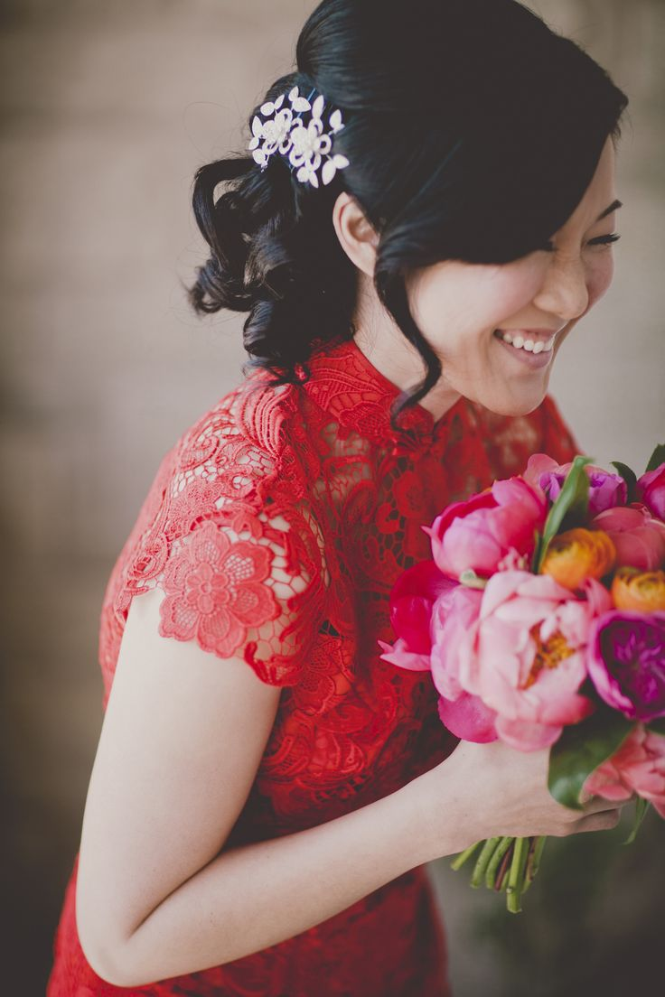 Chinese tea ceremony with red dress Read More: http://www.stylemepretty.com/canada-weddings/2014/04/07/modern-pink-malaparte-wedding-with-balloons/