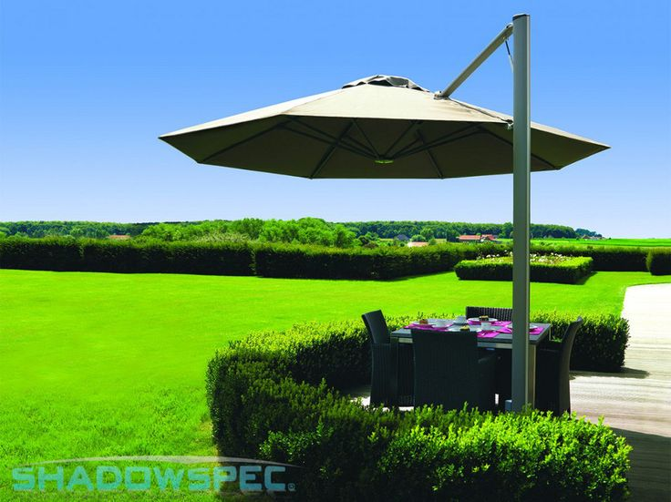 SHADOWSPEC – Global Suppliers of Luxury Outdoor Umbrella Systems    This SU7 cantilever umbrella design is perfect for your outdoor living area and spaces Try this premium shade system as an alternative to a canopy of pergola. Ideal for a restaurant, café or home bbq.  Click below for more information: USA – www.shadowspec.com  AUST – www.shadowspec.com.au  NZ/Other – www.shadowspec.co.nz