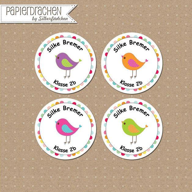 Aufkleber & Etiketten - 24 Aufkleber Namenssticker Schule (Set 1) - ein Designerstück von Papierdrachen bei DaWanda
