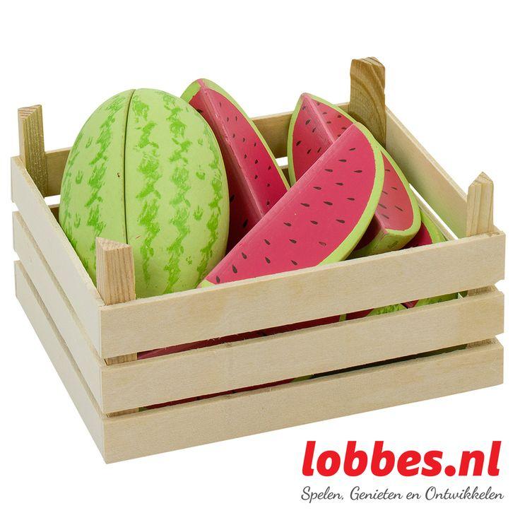 10 houten meloenen in een houten kistje. Leuk om te verkopen in jouw houten winkel,