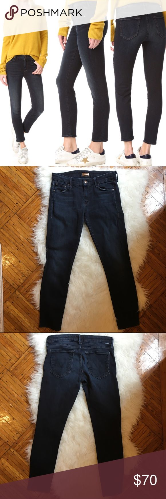 """MOTHER The Cropped Looker Jeans Good condition, some wear on the crotch area. Dark wash called """"coffee, tea, or me?"""" Ankle length. Originally $205 14 inches across the waist 26 inch inseam 8 inch rise MOTHER Jeans Skinny"""