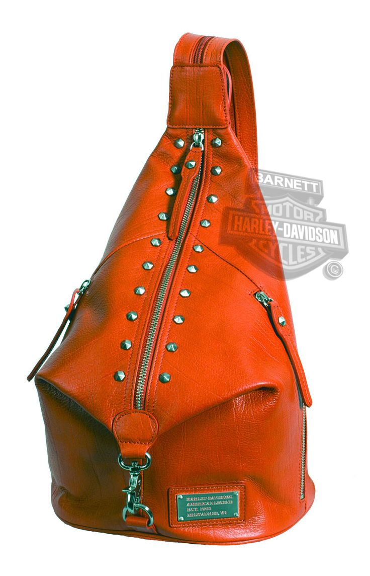 Harley-Davidson® Womens All Bark Orange Leather Sling Backpack