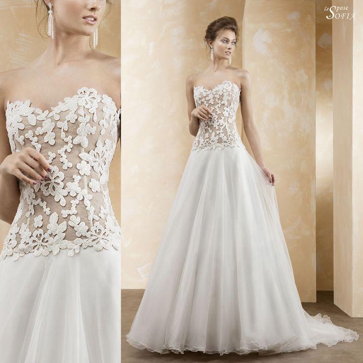 Abito da sposa estivo con corpetto in perle e motivi floreali articolo 845 Le Spose di Sofia