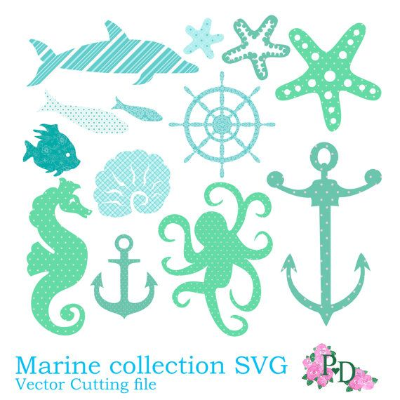 Svg Vector Files Sea Marine Collection Cutting File For