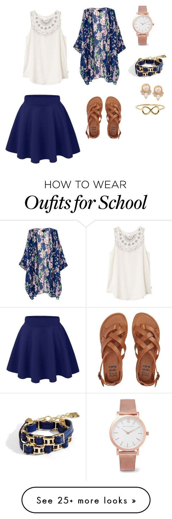 """""""Day to school"""" by alainamarie101 on Polyvore featuring RVCA, Billabong, Larsson & Jennings, BCBGMAXAZRIA and Carolee"""