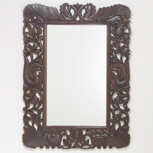 Stained Wood Peacock Mirror