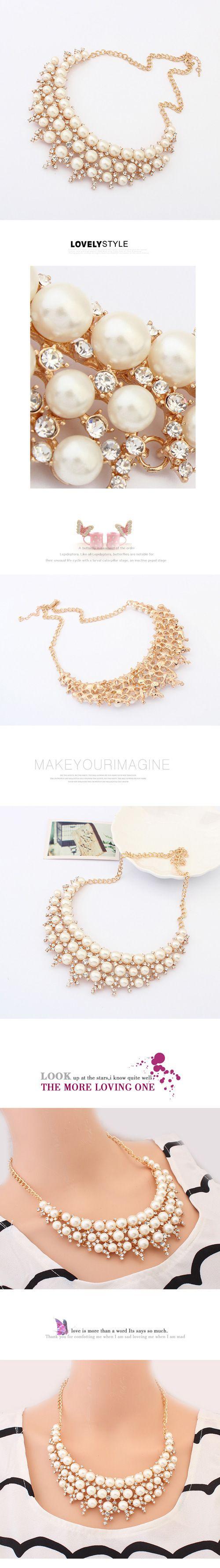 $10.37 Pearl Fine Pretty Necklace Vintage Dazzling Fancy Fashion Necklace - BornPrettyStore.com