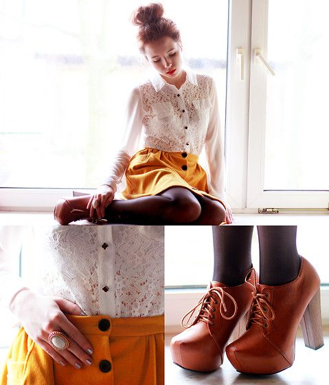 Mustard Skirt & Lace Shirt (by Wioletta Mary Kate) http://lookbook.nu/look/4619051-Mustard-Skirt-Lace-Shirt