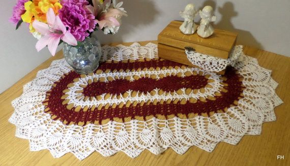 Burgandy & White Oval Hand Crocheted Table by RelaxedLuxKeepSakes