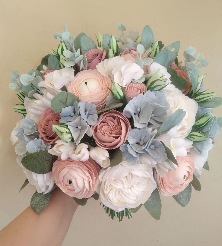 Dusty Rose Hochzeitsstrauß, zart rosa Hahnenfuß, Pfingstrose Bouquet, Hortensi… – Kleidungs Kombinationen