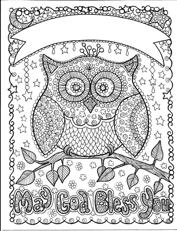 owl may god bless you art to color and hang makes a great gift add a - Art Coloring