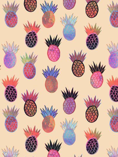 Tutti Frutti - Pineapple Print Art Print BY SchatziBrown #pineapple #pattern #trend #fruit #tropical