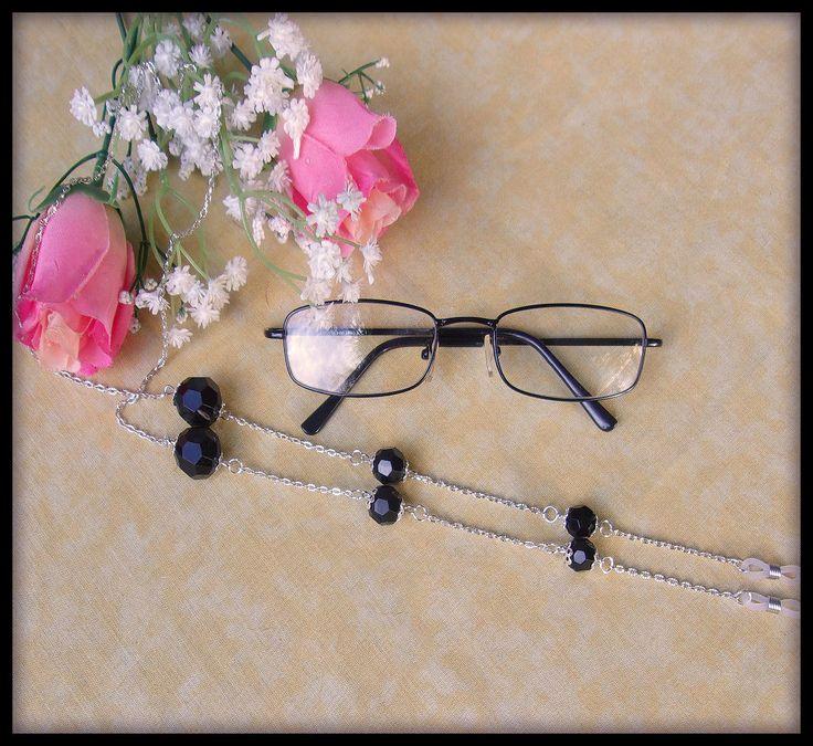 Chaîne pour lunettes argenté perles noires à facettes : Lunettes, lunettes de soleil, cordons par orkan28