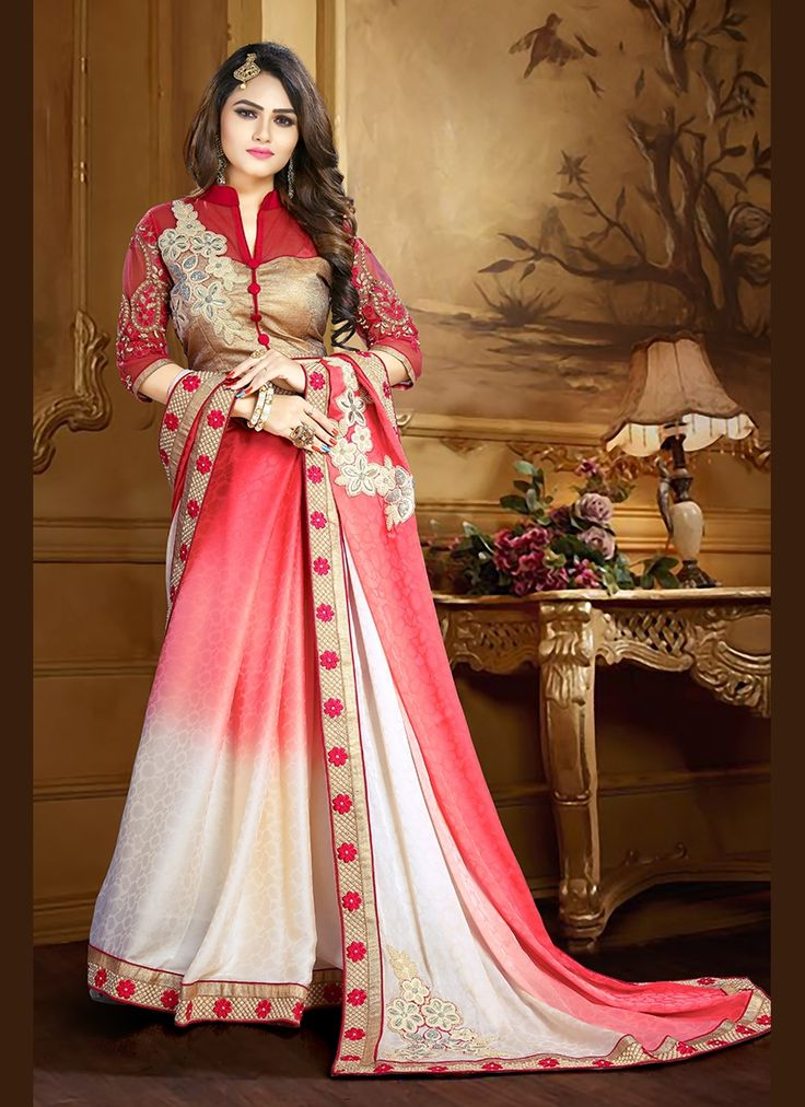 Buy Thrilling Crepe Jacquard Embroidered Work Trendy Saree, Online