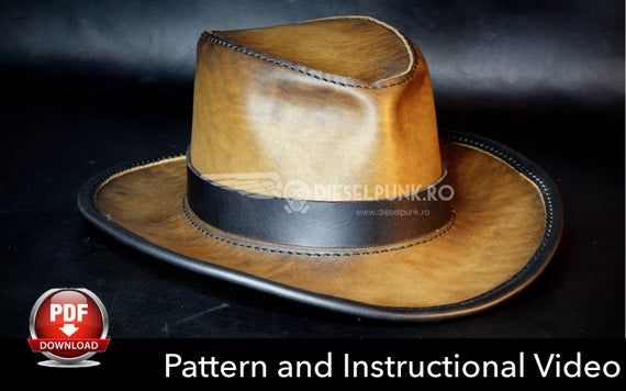 Leather Hat Pattern Diy Pattern Hat Diy Pdf Download Etsy In 2021 Leather Hat Pattern Leather Hats Leather Cowboy Hats