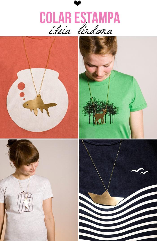 """Camisetas da marca Alemã """"Luft und Liebe"""" que vêm com um colar pra completar a composição."""