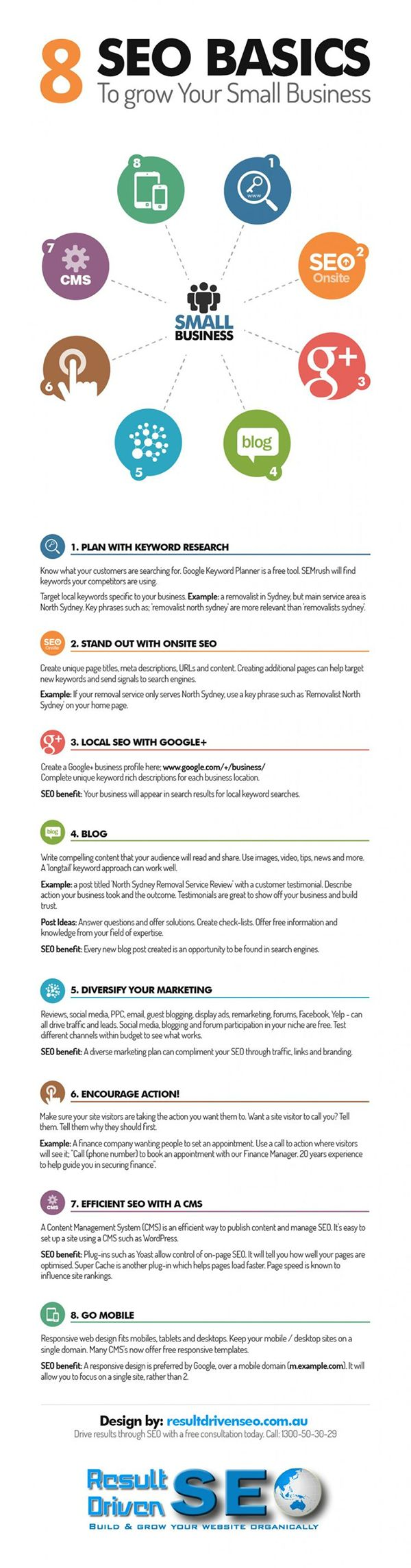8 #SEO Basics to grow your small #Business #infographic