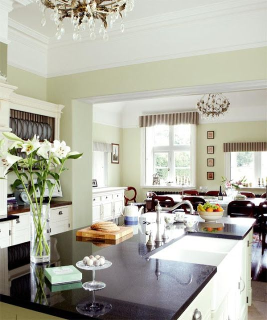 Full details on Modern Country Style blog: Prepare to enter Kitchen Nirvana.....walls painted in Farrow and Ball Green Ground