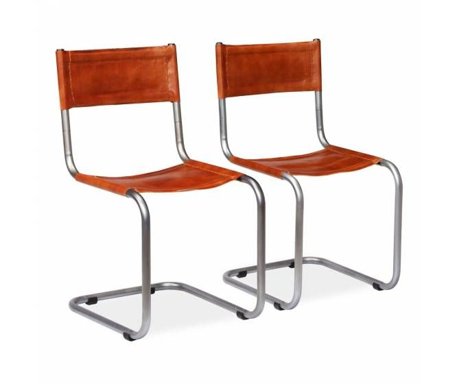 Lot De 2 Chaises Metal Et Cuir Marron Avec Images Chaise Salle A Manger Chaise Metal Chaise De Bureau Ergonomique