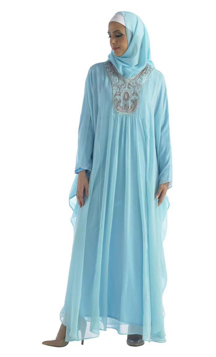 Sky Blue Kaftan Gown with embroidery.