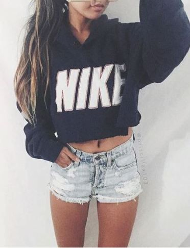 nike shoes Sweatshirt hoodies and jean shorts are perfect for nighttime summer outfits!