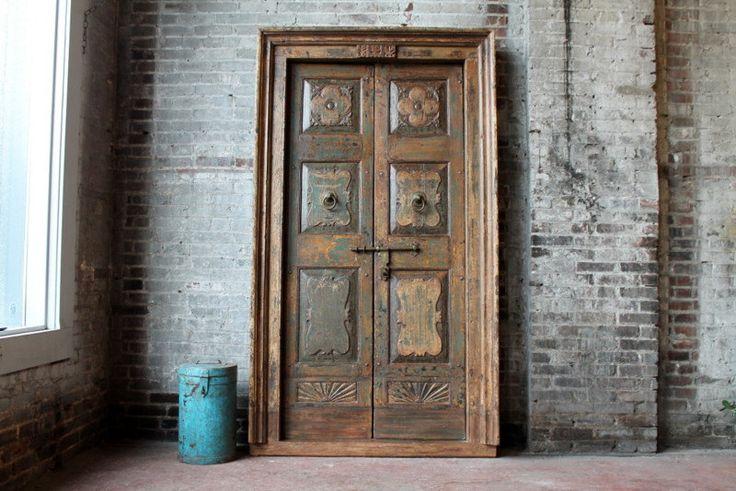Antique Door Set Indian Hand Carved Teak Wood Haveli Doors Moroccan Interior…
