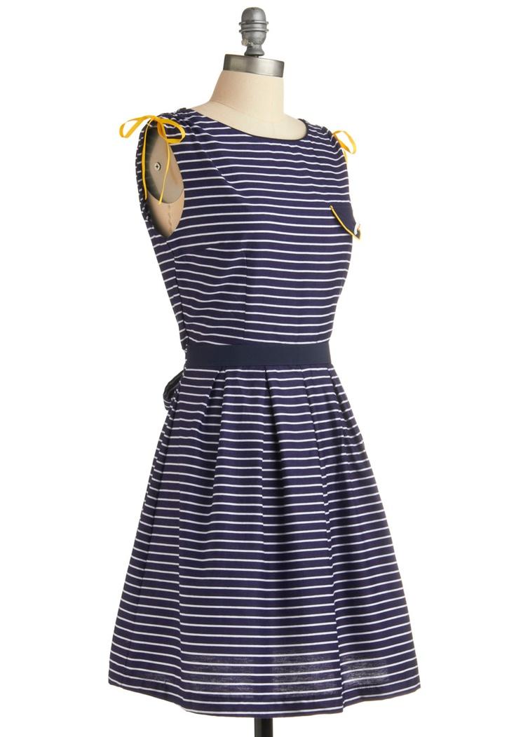 Navy and yellow: Sea Dresses, Dresses Modcloth, Dreams Closet, Yellow Shoes, Nautical Dresses, Dreams Dresses, Yellow Accent, Stripes Dresses, Modcloth Dresses
