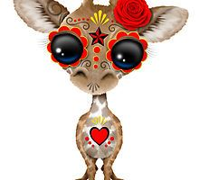 Red and Yellow Day of the Dead Sugar Skull Baby Giraffe by Jeff Bartels