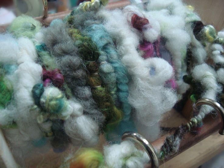 Corriedale, lincoln locks and silk fiber Art Yarn