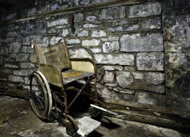 A wheelchair at North Wales County Pauper Lunatic Asylum at North Wales Hospital (Picture: Mark Davis/Guzelian)