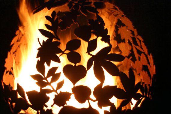 Wow! Fire Sphere Sculptural Fire Pit ''Leaf'' Design by Craftsmen in Metal J.W & A.J Barrett Ltd.