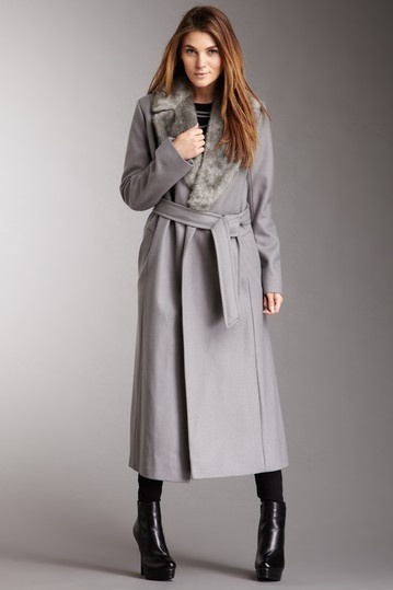 French Connection Fur All Hours Coat in Steel Grey gray