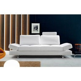 hymn modern white leather sofa with adjustable backrest