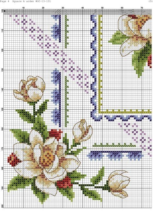 Cross stitch - flowers: Magnolia and fruit (chart - part B1)