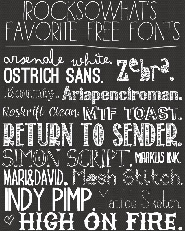 I Rock So What's Favorite Free Fonts