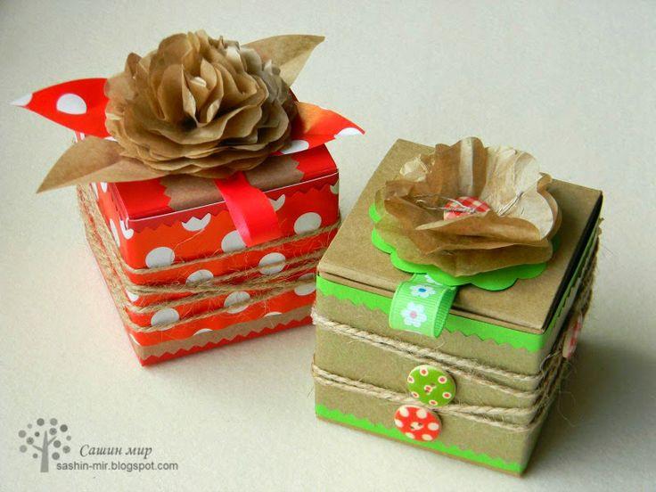 Сашин мир: Я сотворила приглашения на вечеринку в виде поздравительных коробочек.