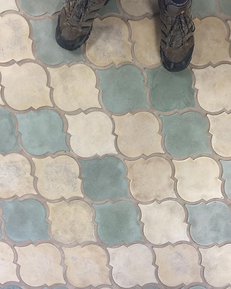 Moroccan tile floor . Blue white and cream