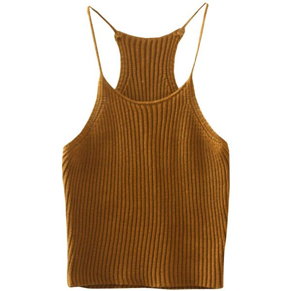 Womens Sexy Plain Crewneck Crochet Camisole Top Khaki ($8.19) ❤ liked on Polyvore featuring tops, khaki, crew neck top, brown crochet top, sexy cami, camisole tops and sexy cami tops