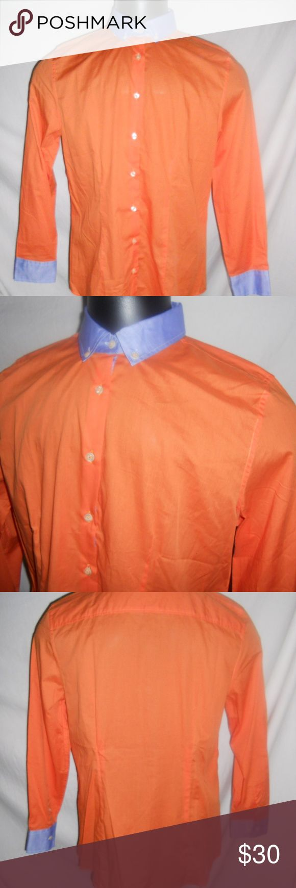 """J Peterman Ladies Shirt Top Size 12 Orange Blue J Peterman Shirt Top Size 12 Orange Blue Button Down Cotton. Excellent condition, never worn. Here are some additional measurements.  Chest/Bust - 40"""" Length - 28"""" Arm Length - 23"""" J. Peterman Tops Button Down Shirts"""