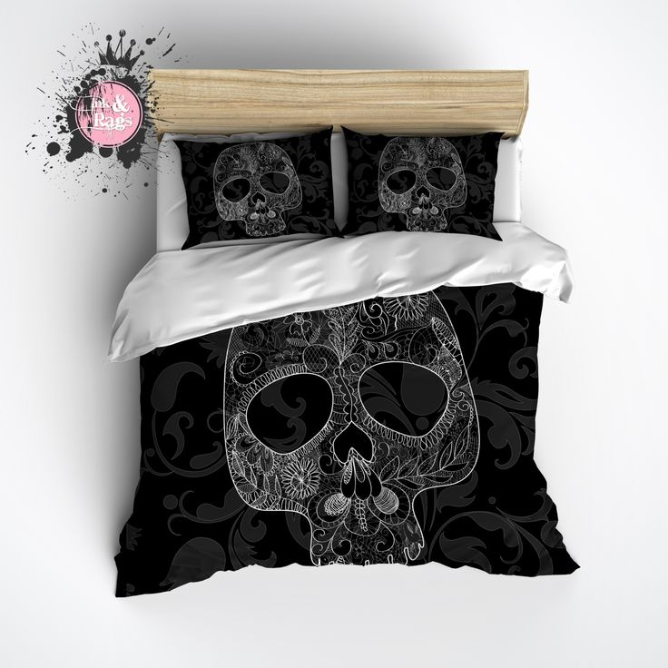 lace skull on black and grey duvet bedding sets