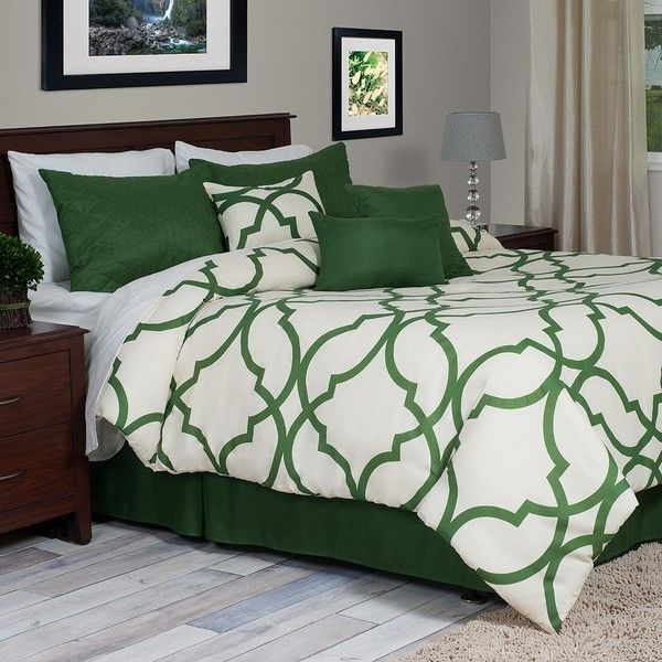 Portsmouth Home Trellis 7-pc. Comforter Set, Green ($142) ❤ liked on Polyvore featuring home, bed & bath, bedding, comforters, green, green comforter, king comforter, king size pillow shams, king comforter set and oversized king comforters